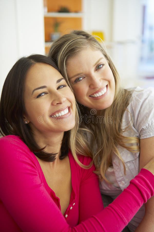 Stående av två le kvinnliga vänner på soffan fotografering för bildbyråer