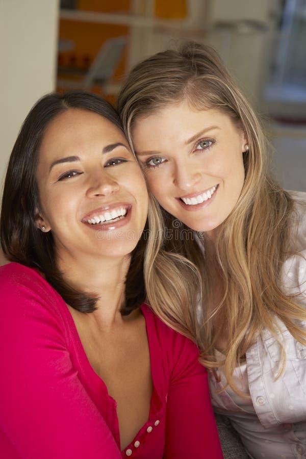 Stående av två le kvinnliga vänner på soffan arkivfoton