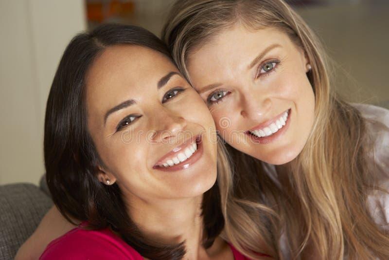 Stående av två le kvinnliga vänner på soffan arkivbild