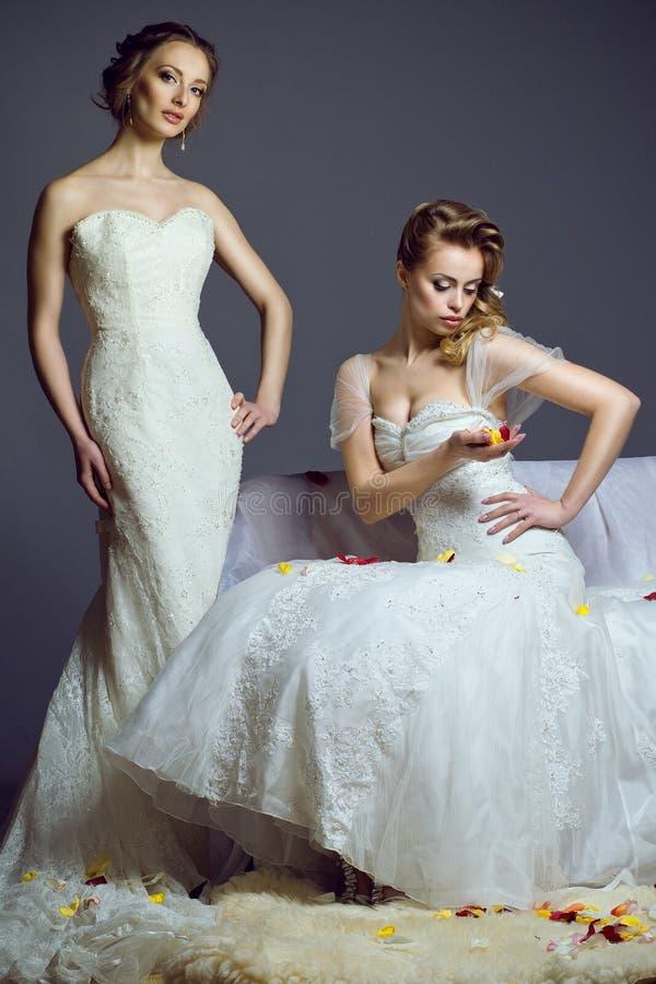 Stående av två unga härliga europeiska brudar som bär exklusiva bröllopkappor royaltyfria foton