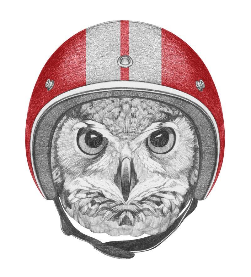 Stående av ugglan med hjälmen royaltyfri illustrationer