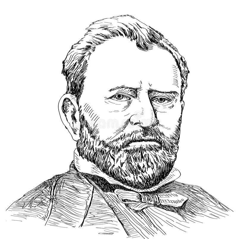 Stående av Ulysses S. Grant vektor illustrationer