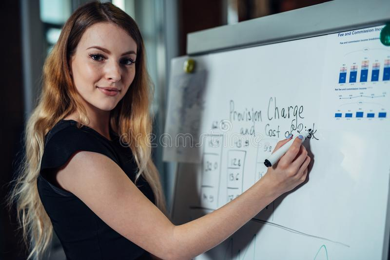 Stående av ung kvinnlig ledarehandstil på whiteboarden som förklarar nya strategier under konferensen i ett kontor royaltyfri fotografi