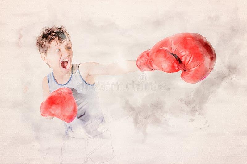 Stående av ung pojkeboxning med röda handskar stock illustrationer