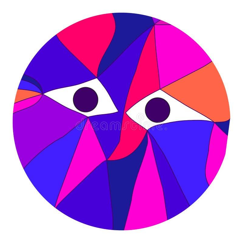 Stående av varelsen med ögon i kubism vektor illustrationer