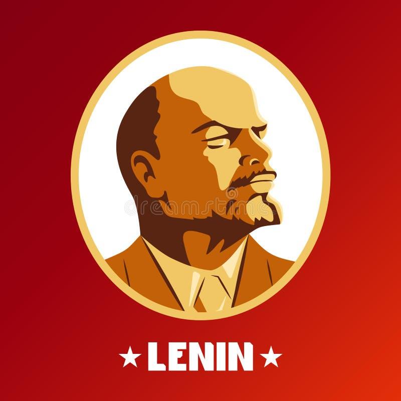 Stående av Vladimir Lenin Affisch stiliserad Sovjet-stil Ledaren av USSR Ryskt revolutionärt symbol royaltyfri illustrationer