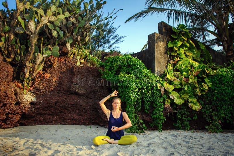 St?ende av yoga f?r ung kvinna f?r lycka ?vande p? det fria Yoga och att koppla av begrepp H?rlig flicka?vningsasana royaltyfria bilder
