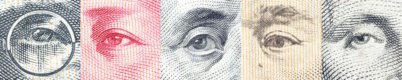 Stående/bilder/ögonen av den berömda ledaren på sedlar, valutor av de mest framträdande länderna i världen royaltyfria foton