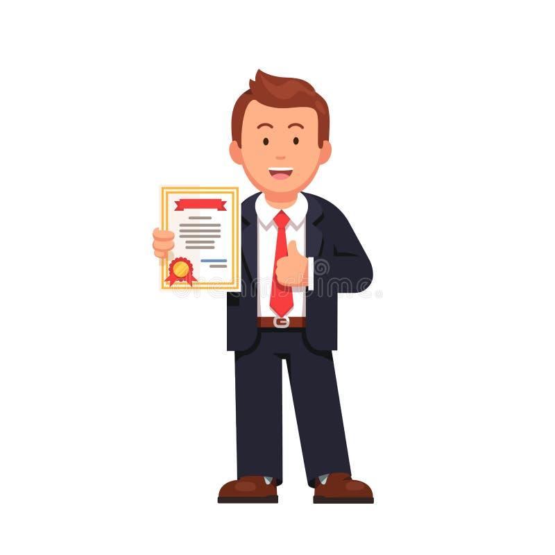 Stående certifikat för innehav för affärsman royaltyfri illustrationer