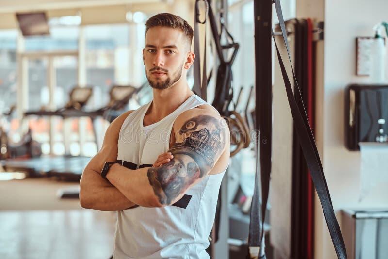 Stående eller attraktiv tattoed kroppsbyggare royaltyfri bild