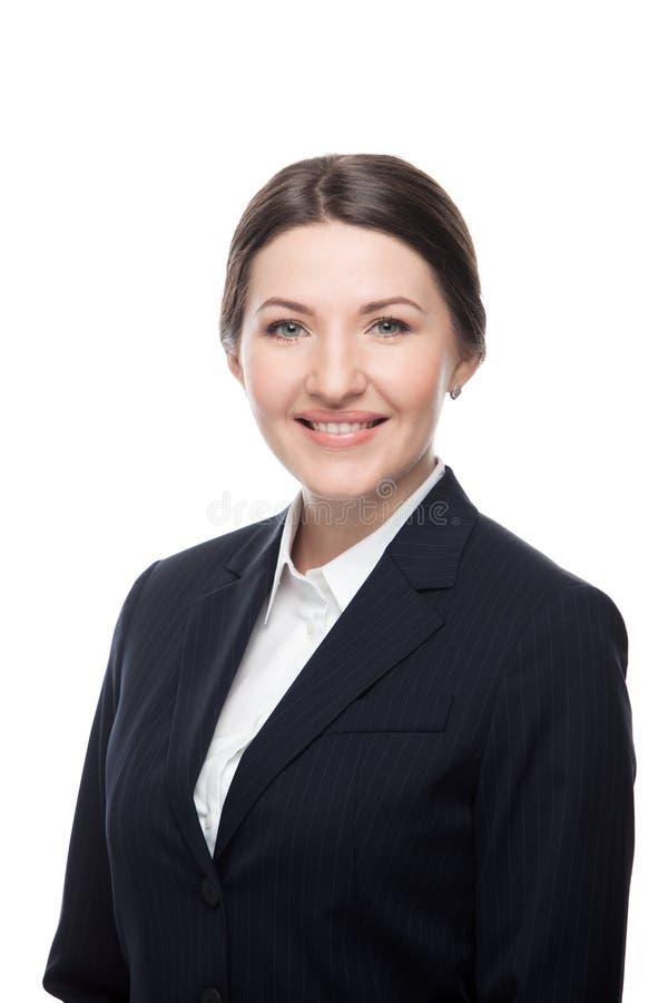 Stående för affärskvinna Isolerat över en vit arkivbilder