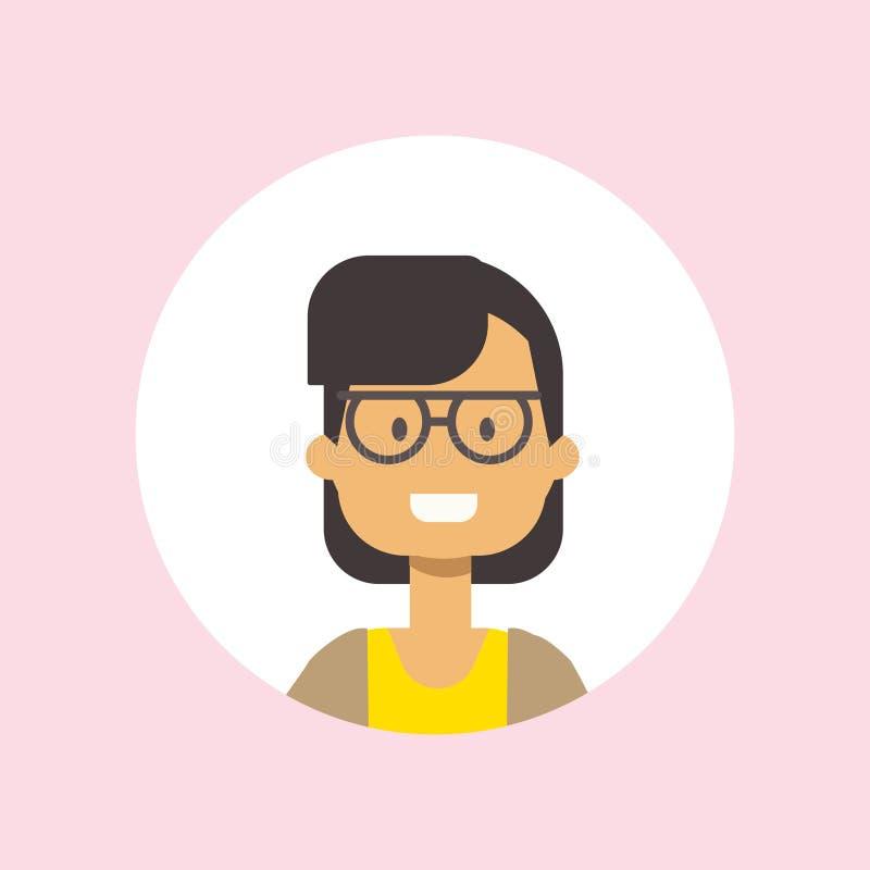 Stående för exponeringsglas för flicka för gullig kvinnaframsida lycklig på rosa bakgrund, kvinnlig avatarlägenhet vektor illustrationer
