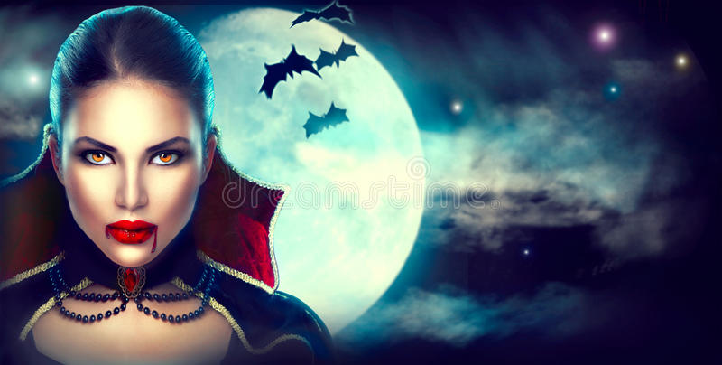 Stående för fantasiallhelgonaaftonkvinna sexig vampyr arkivbilder
