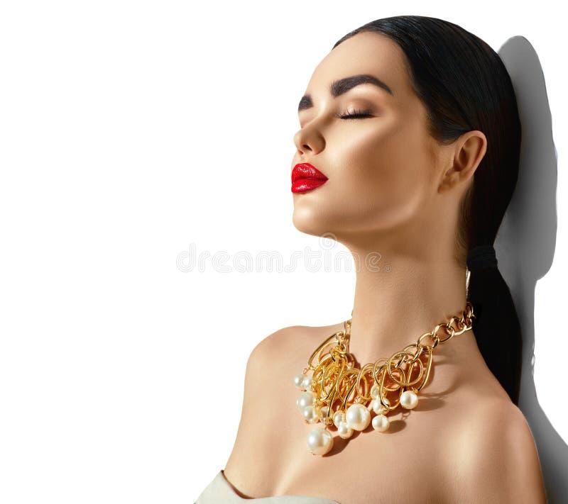 Stående för flicka för brunett för skönhetmodemodell royaltyfri bild