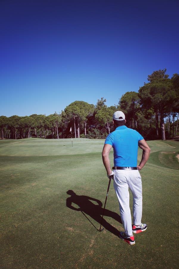 Stående för golfspelare från baksida fotografering för bildbyråer