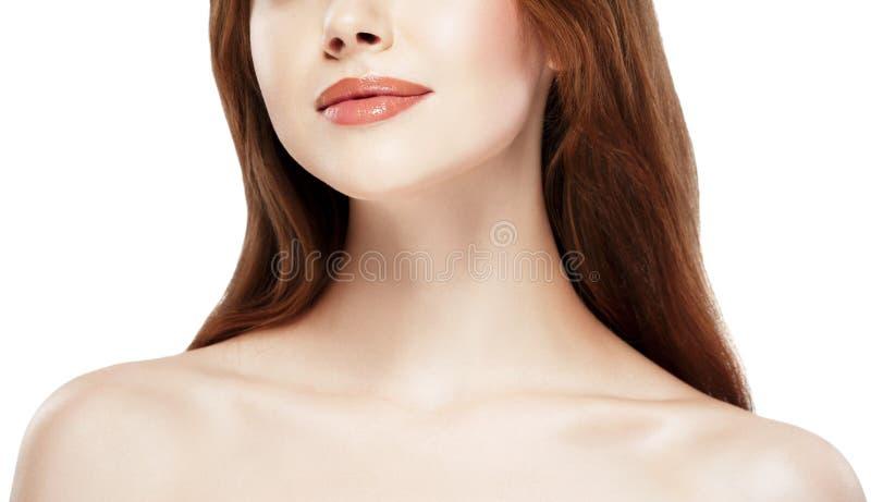Stående för hals för skuldror för skönhetkvinnakanter Härlig brunnsortmodellflicka med perfekt ny ren hud Näckt smink fotografering för bildbyråer
