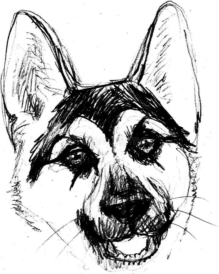 Stående för herdehundhuvud av ett teckendiagram, symbol, waterco stock illustrationer