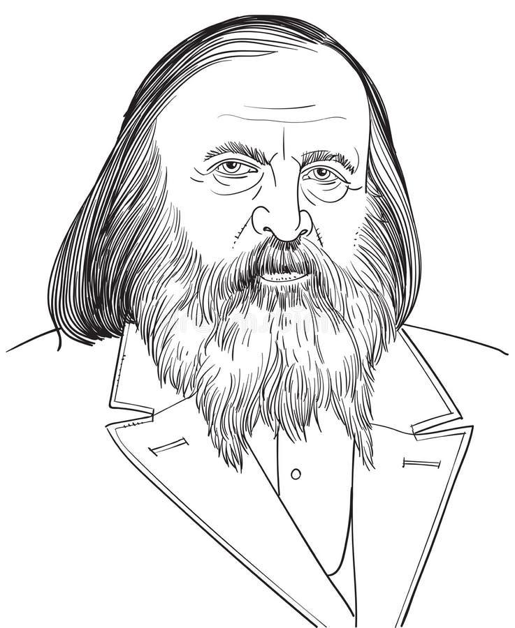 Stående för kemistDmitri Mendeleev teckning royaltyfri illustrationer