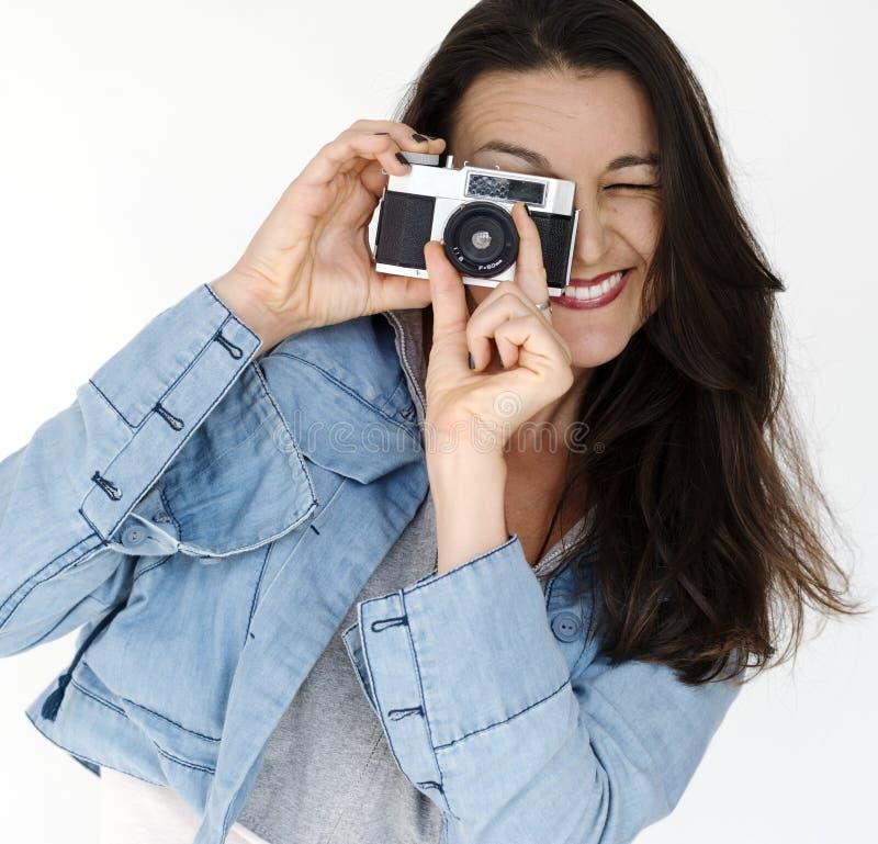 Stående för kvinnafotografCamera Focus Photography studio arkivfoton