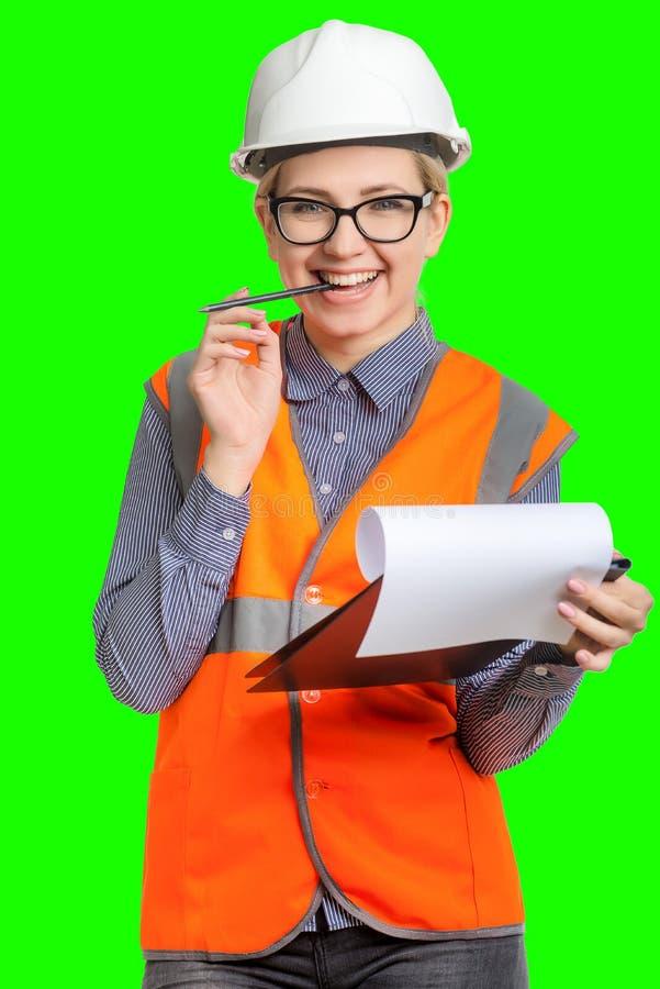 stående för kvinnlig arbetare arkivfoton