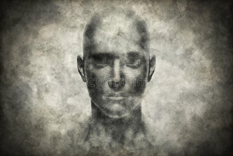 Stående för mänsklig framsida på grungepapper vektor illustrationer