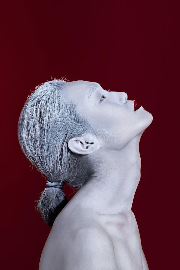 Stående för man för makeup för Vogue stil ljus Friare för glamourfetischman royaltyfri foto