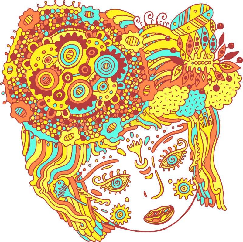 Stående för overklig flicka för saga färgrik psykedelisk Klotter su royaltyfri illustrationer