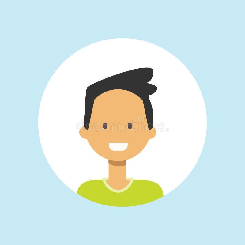 Stående för pojke för gullig tonårig grabbframsida lycklig på blå bakgrund, manlig avatarlägenhet stock illustrationer
