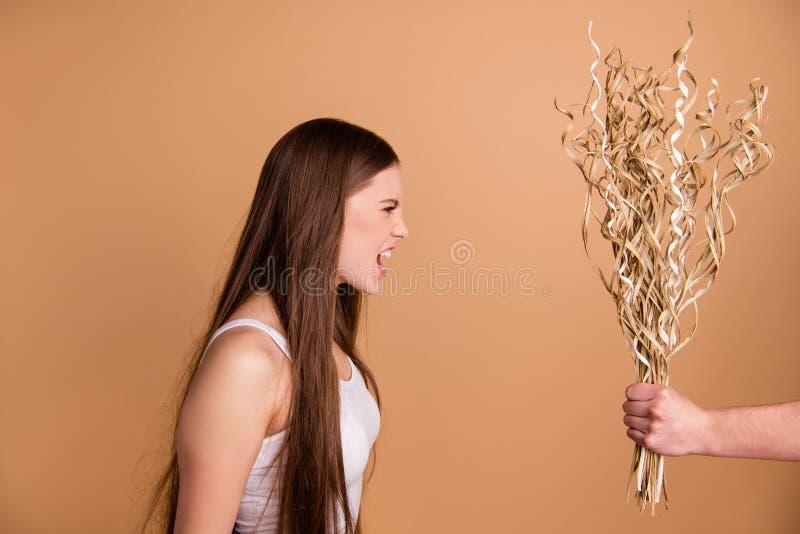 Stående för sikt för närbildprofilsida av den trevliga attraktiva dystra lynniga vresiga damen som mottar få torkat blommasymbol royaltyfria bilder