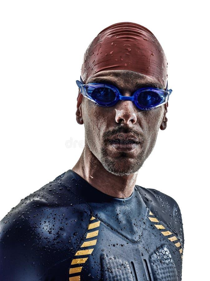 Stående för simmare för idrottsman nen för man för mantriathlonjärn arkivbilder
