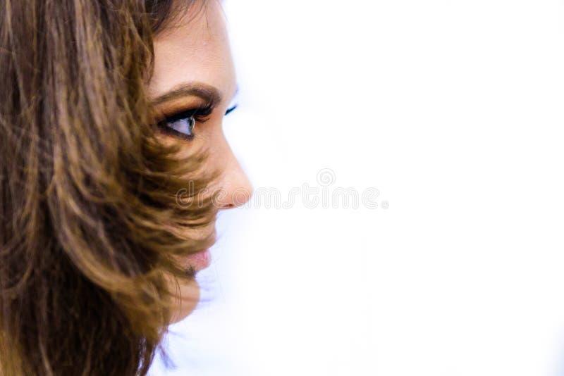 Stående för skönhetkvinnaframsida Härlig brunnsortmodellflicka med perfekt ny ren hud Isolerad vitbakgrund Mode länge fotografering för bildbyråer