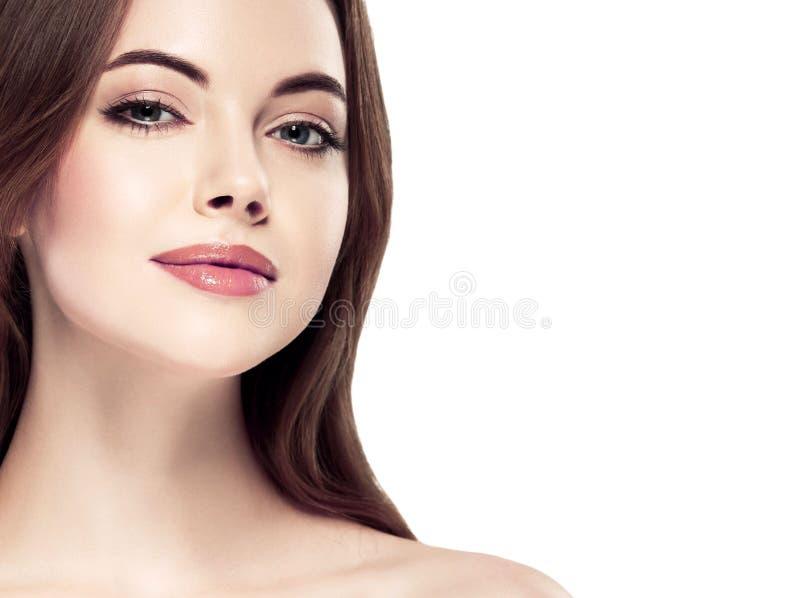 Stående för skönhetkvinnaframsida Härlig brunnsortmodellflicka med perfekt ny ren hud Näckt smink fotografering för bildbyråer