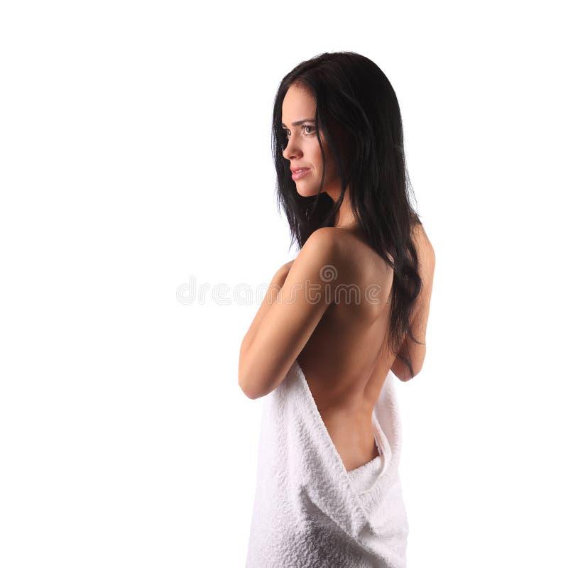 Stående för skönhetSpa kvinna isolerad härlig flicka royaltyfri foto