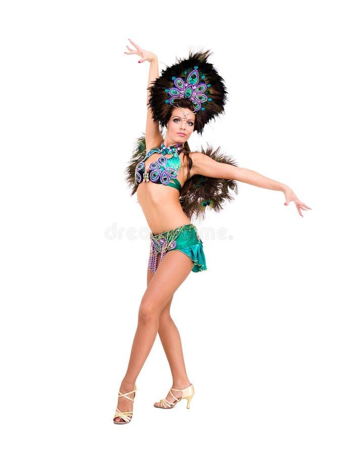 Härlig karnevaldansarekvinna arkivfoto