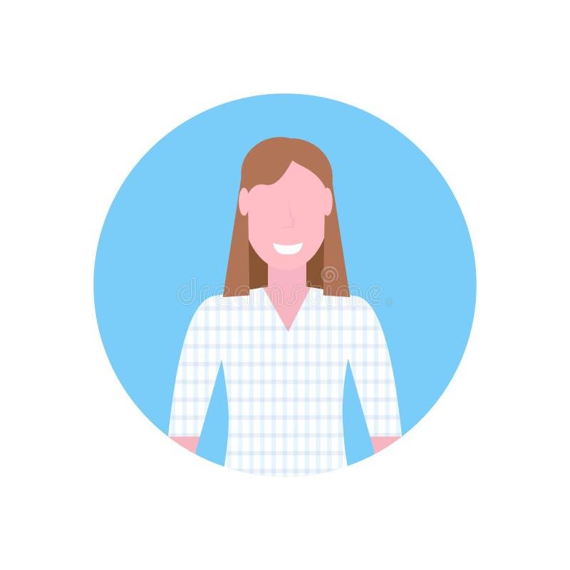 Stående för tecken för tecknad film för lycklig för kvinnabrunthår som för flicka avatar för framsida kvinnlig isoleras framlänge vektor illustrationer