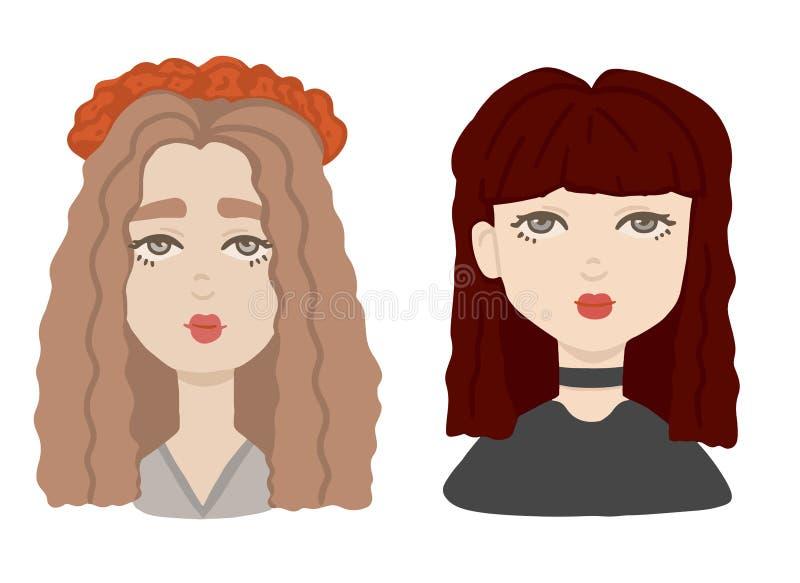 Stående för två olik flickor i tecknad filmstil Ställ in av kvinnliga mänskliga huvud i färg vektor illustrationer
