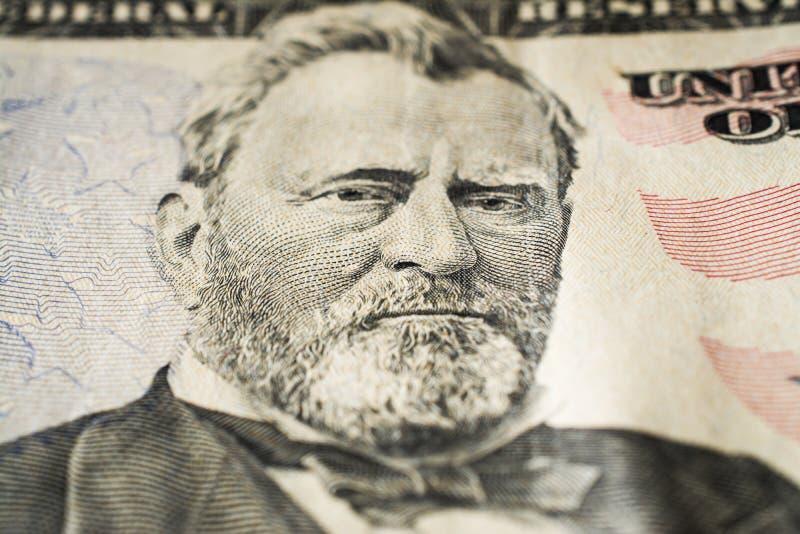 Stående för USA-president Ulysses Grant på femtio extrema makro för dollarräkning, 50 usd royaltyfri fotografi