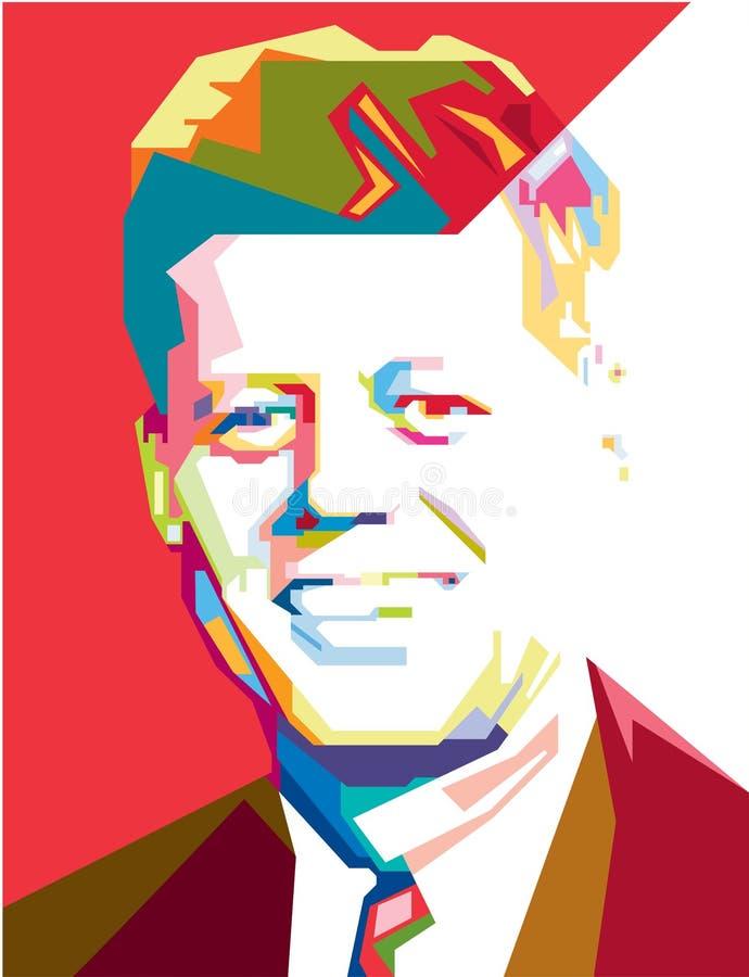 Stående för vektor för John F. Kennedy popkonst/eps vektor illustrationer