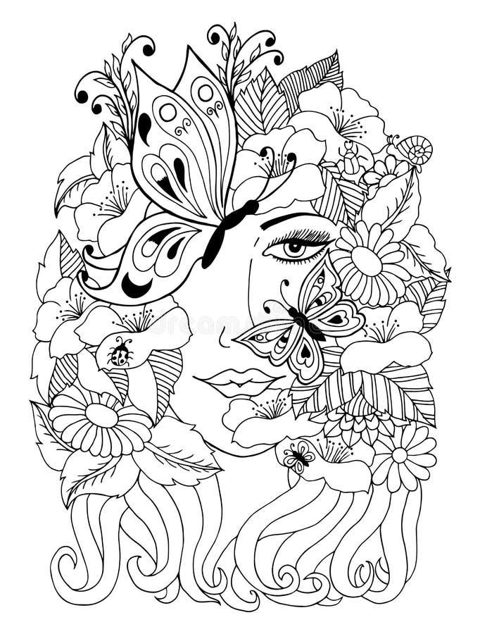 Stående för vektorillustrationzentangl av en flicka som täckas med fjärilar och blommor Vektor EPS 10 Meditativa övningar Colori royaltyfri illustrationer