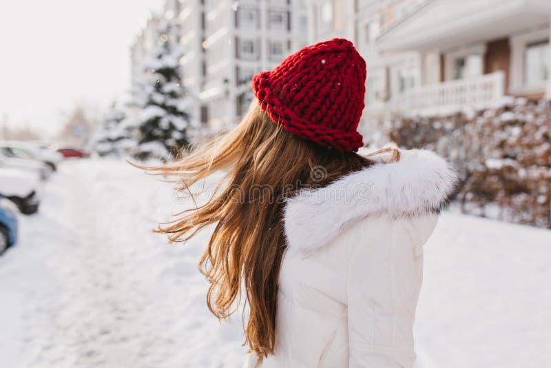 Stående från baksida av att förbluffa flickan som poserar med långt hår som vinkar i kall vinterdag Utomhus- foto av den drömlika royaltyfria foton