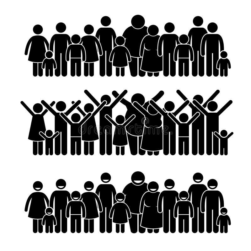 Stående gemenskap Cliparts för grupp människor stock illustrationer