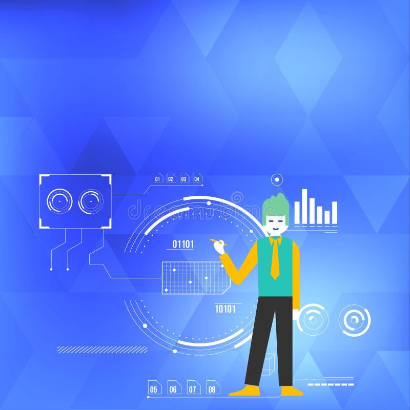 Stående hållande penna för man och peka till diagramdiagrammet Bakgrund fylls med SEO Process och cirkuleringssymboler idérikt royaltyfri illustrationer