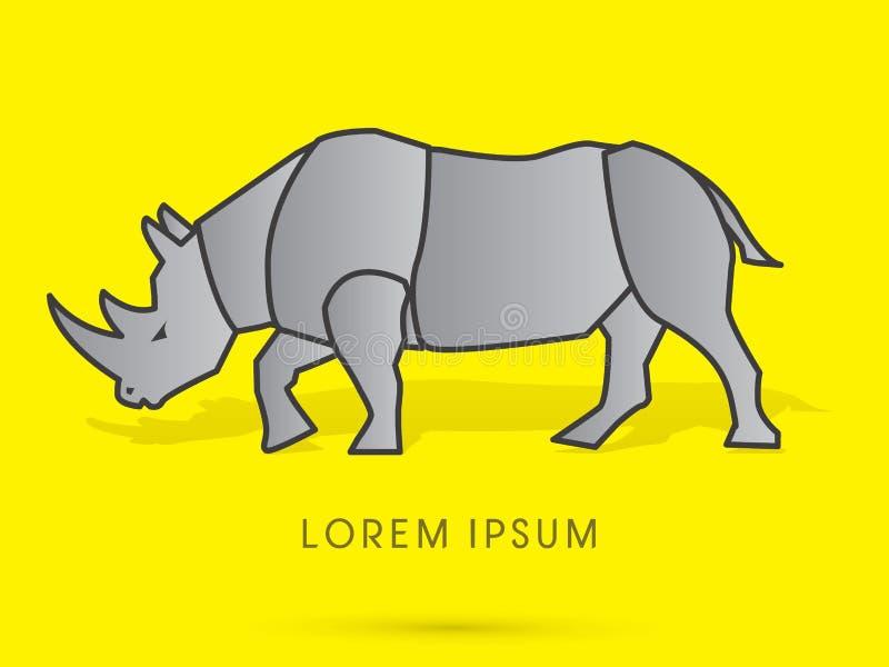 Stående konst för noshörning vektor illustrationer