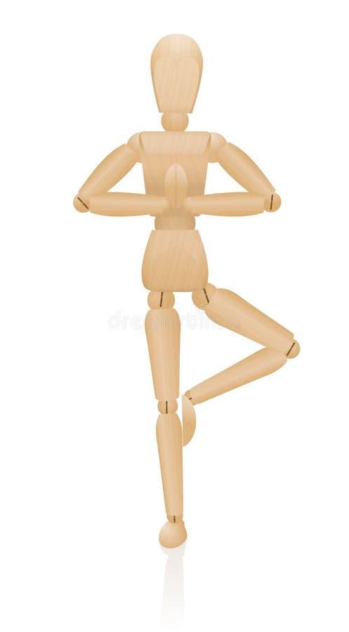 Stående konstnär Manikin Figure för yogajämvikt vektor illustrationer