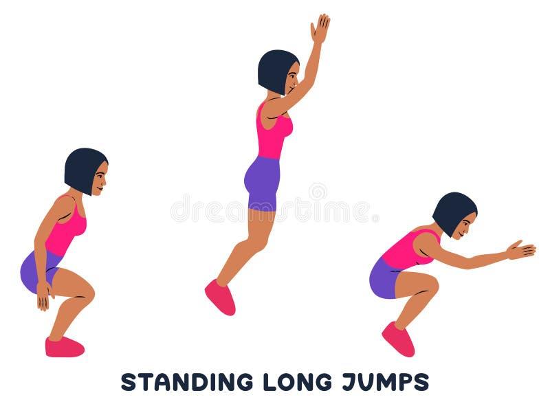 Stående längdhopp Sportexersice Konturer av kvinnan som gör övning Genomkörare som utbildar royaltyfri illustrationer