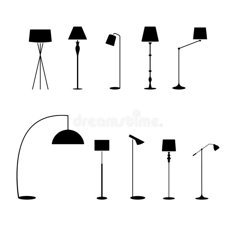 Stående lampskärmsymbolsuppsättning Vektorillustration av pictogramen för lampa för golv för modesamling den elektriska på vit vektor illustrationer