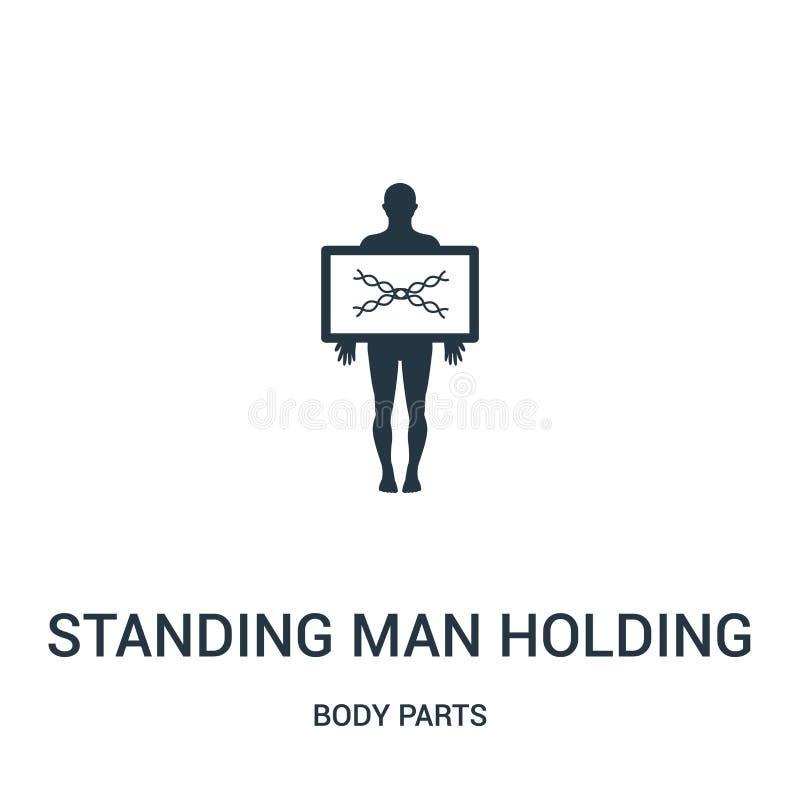 stående man som rymmer en vektor för symbol för bild för x-strålar från kroppsdelsamling Tunn linje anseendeman som rymmer en bil royaltyfri illustrationer