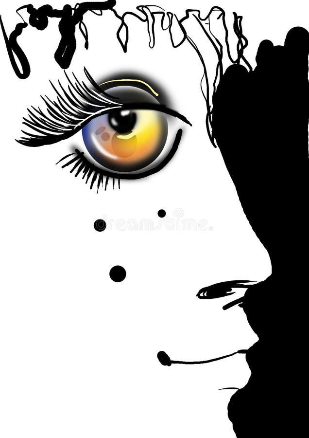 Stående med gula ögon stock illustrationer