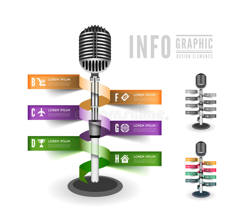 Stående mikrofon stock illustrationer