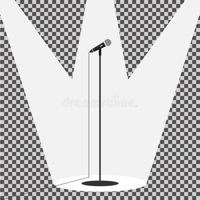 Stående mikrofon för symbol stock illustrationer